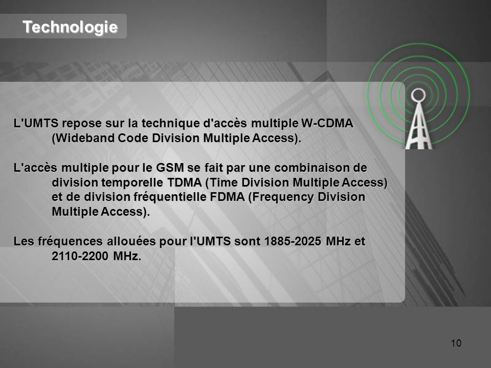 Technologie L UMTS repose sur la technique d accès multiple W-CDMA (Wideband Code Division Multiple Access).