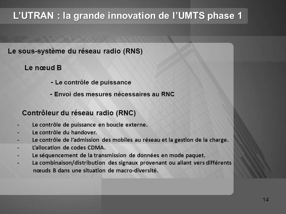 L'UTRAN : la grande innovation de l'UMTS phase 1