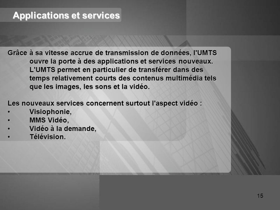 Applications et services