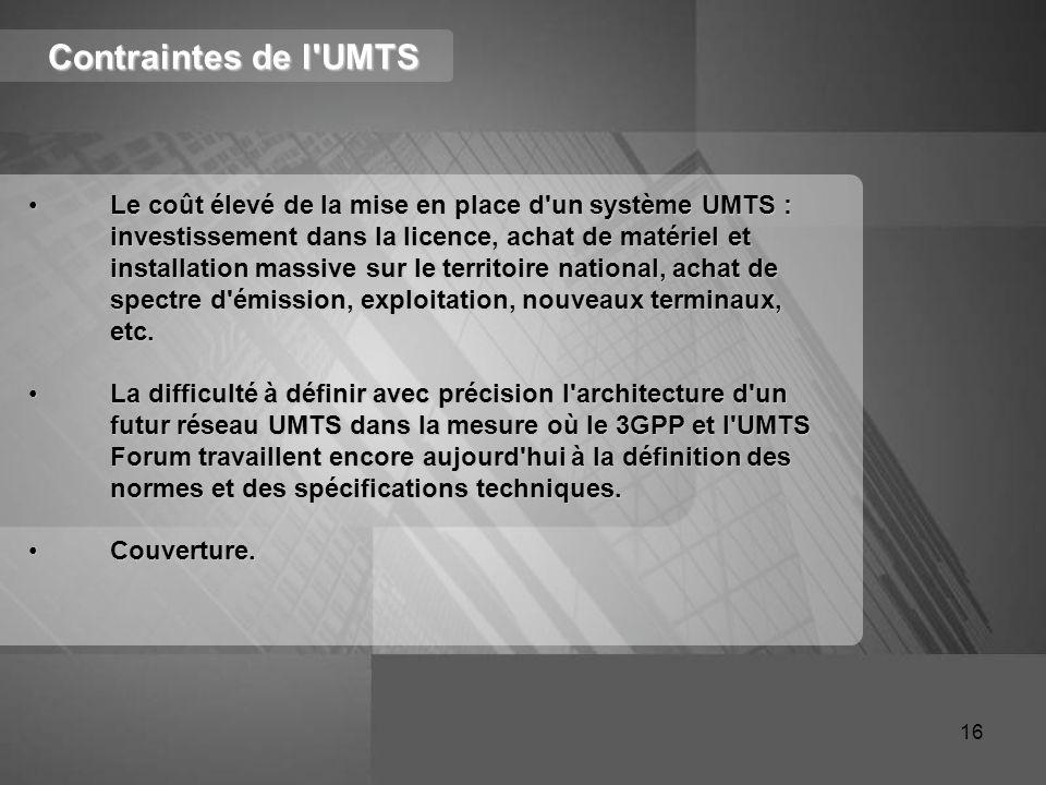 Contraintes de l UMTS