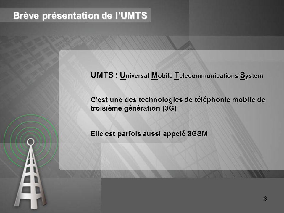 Brève présentation de l'UMTS