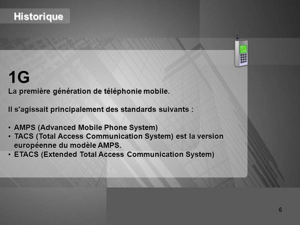 1G Historique La première génération de téléphonie mobile.