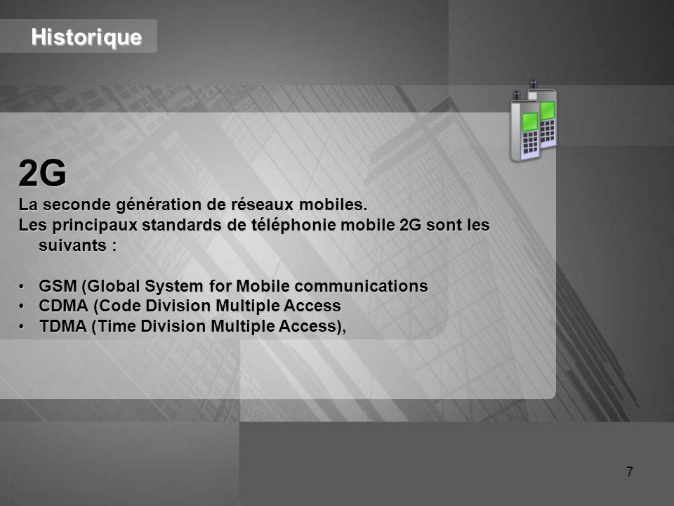 2G Historique La seconde génération de réseaux mobiles.