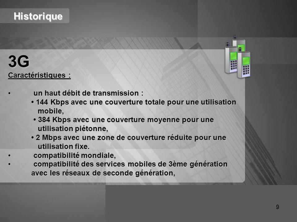 3G Historique Caractéristiques : un haut débit de transmission :