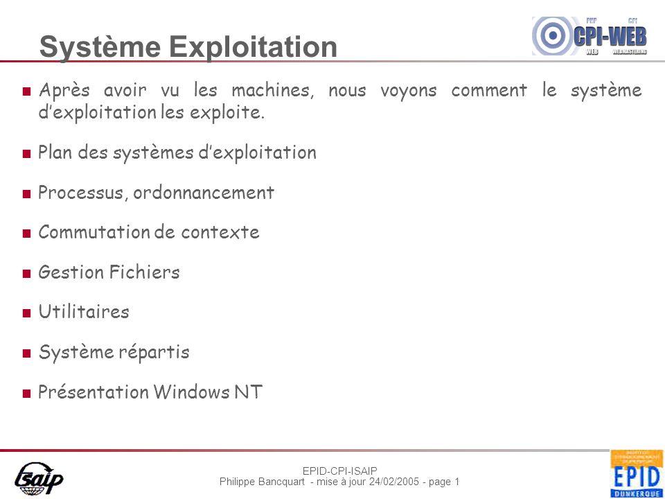 Système Exploitation Après avoir vu les machines, nous voyons comment le système d'exploitation les exploite.