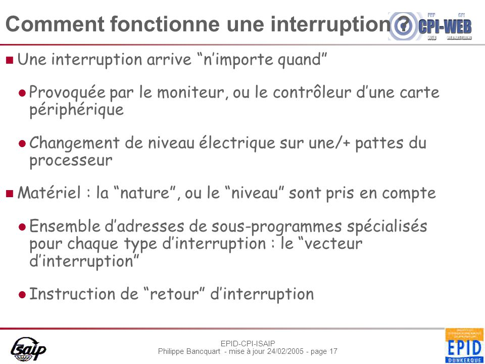Comment fonctionne une interruption