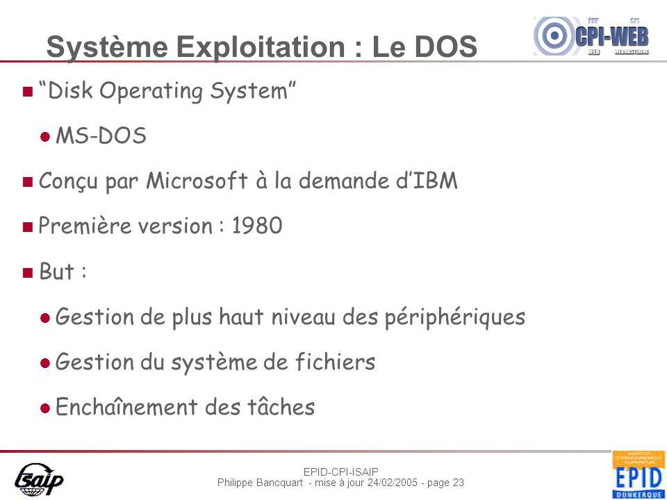 Système Exploitation : Le DOS