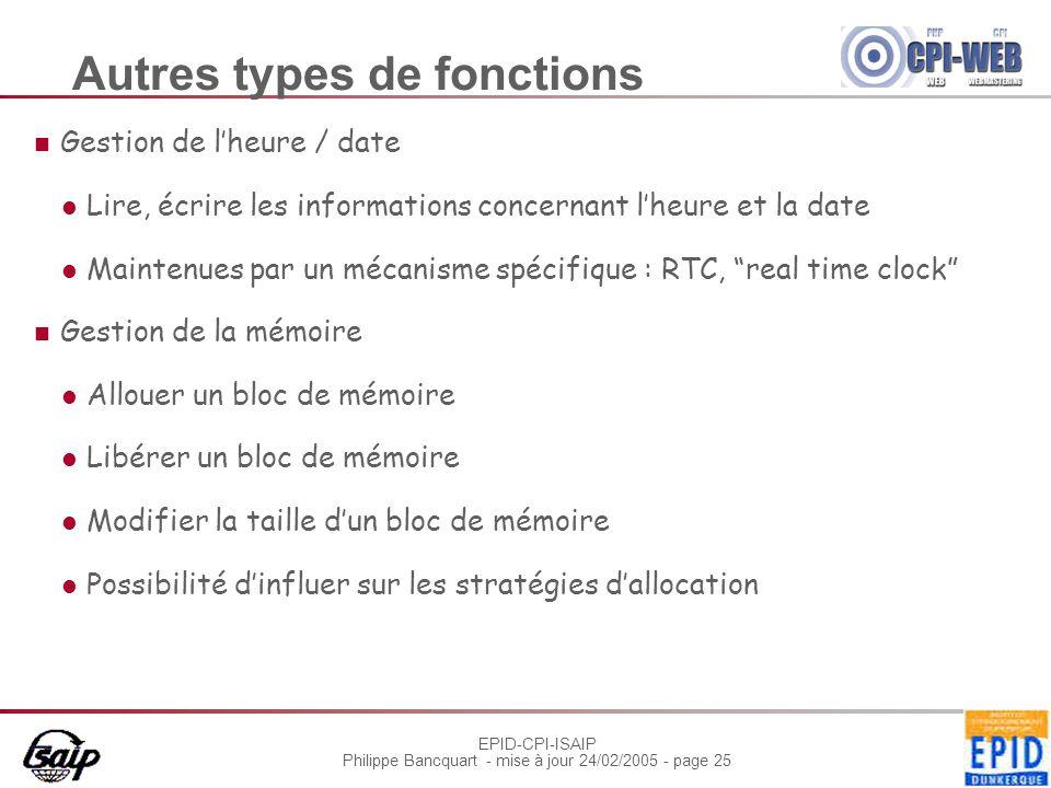 Autres types de fonctions