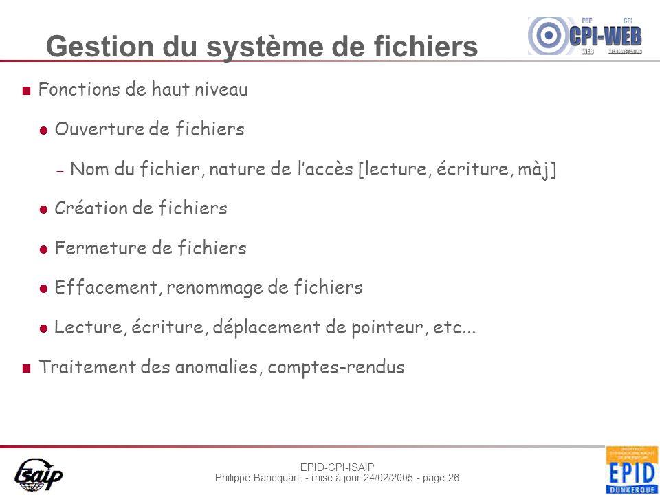 Gestion du système de fichiers