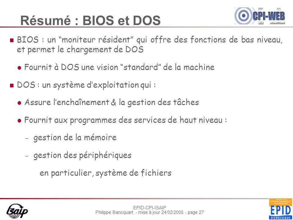 Résumé : BIOS et DOS BIOS : un moniteur résident qui offre des fonctions de bas niveau, et permet le chargement de DOS.