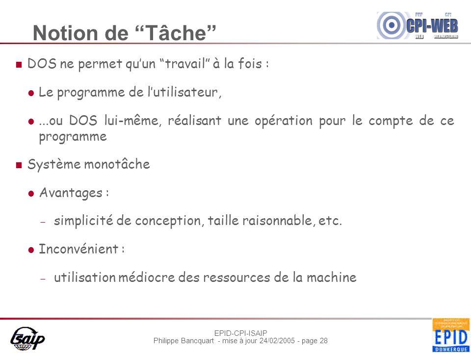 Notion de Tâche DOS ne permet qu'un travail à la fois :