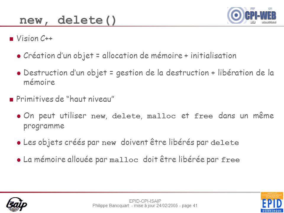 new, delete() Vision C++
