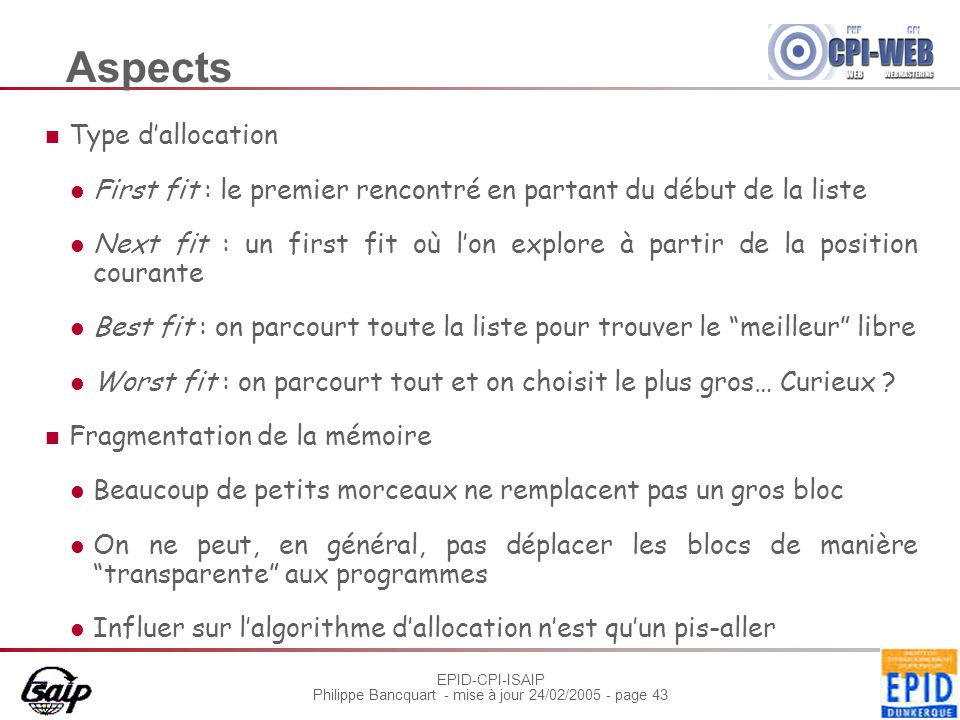 Aspects Type d'allocation