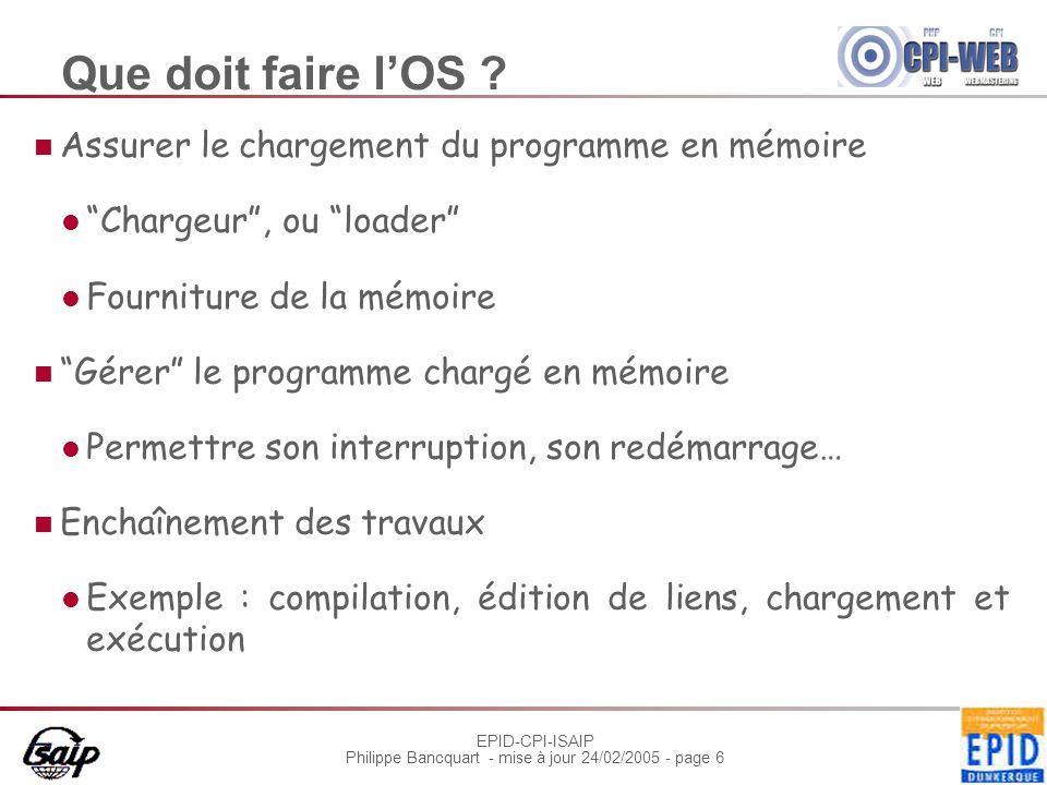 Que doit faire l'OS Assurer le chargement du programme en mémoire