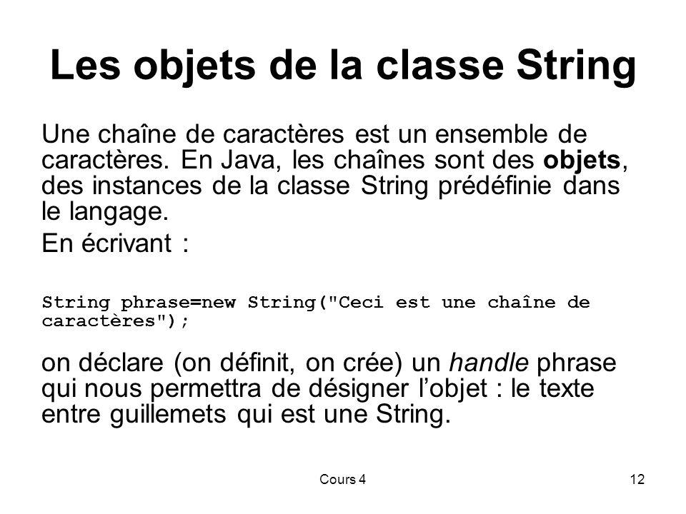 Les objets de la classe String
