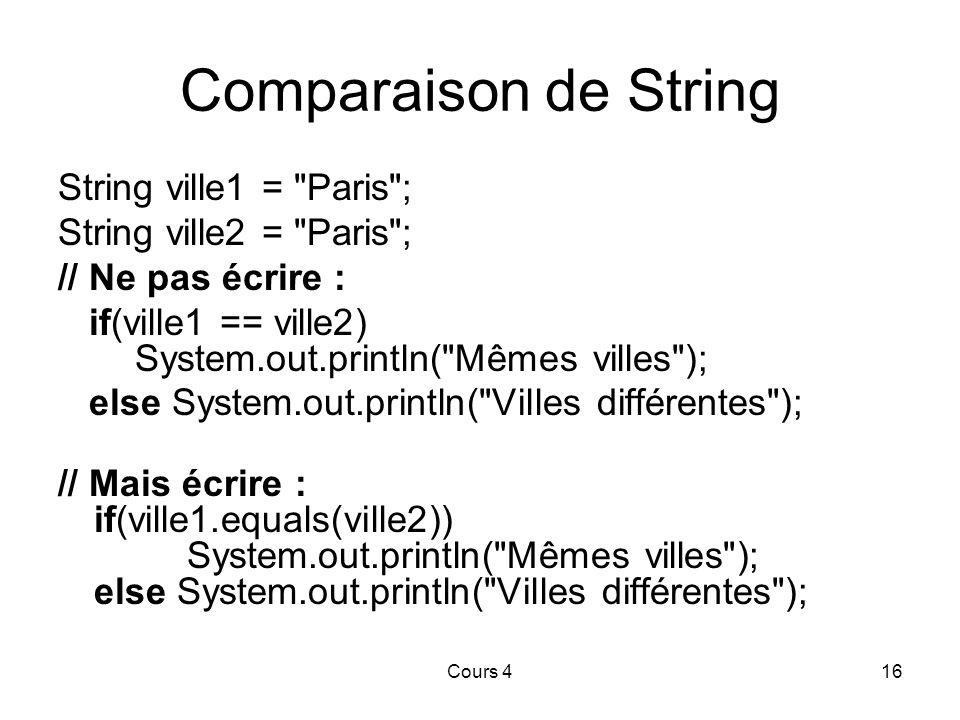 Comparaison de String String ville1 = Paris ;