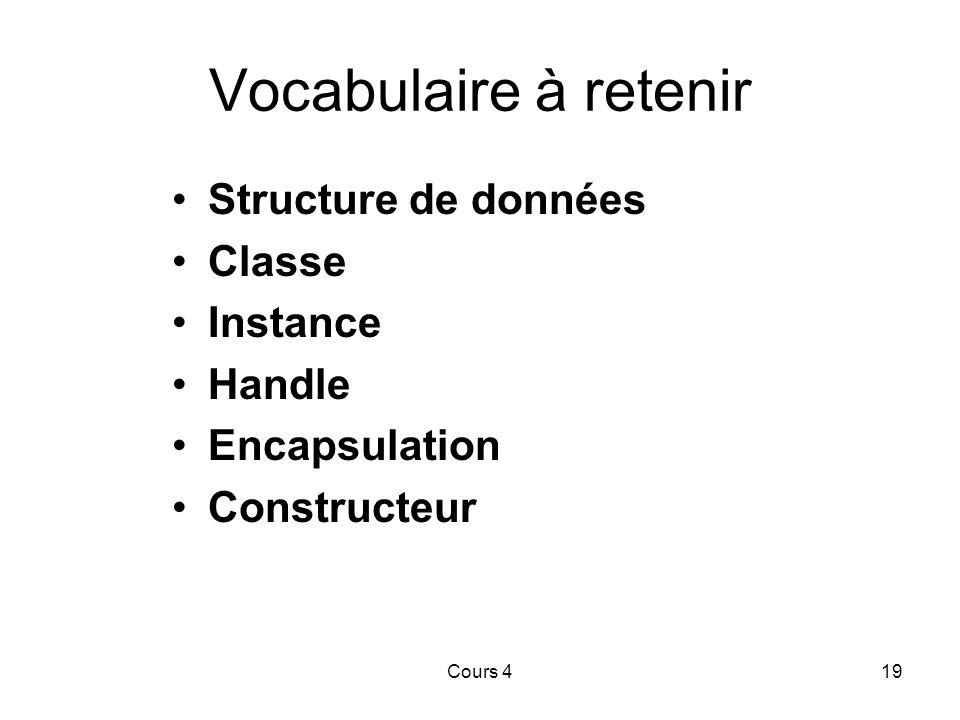 Vocabulaire à retenir Structure de données Classe Instance Handle