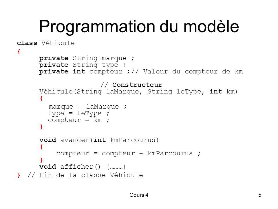 Programmation du modèle