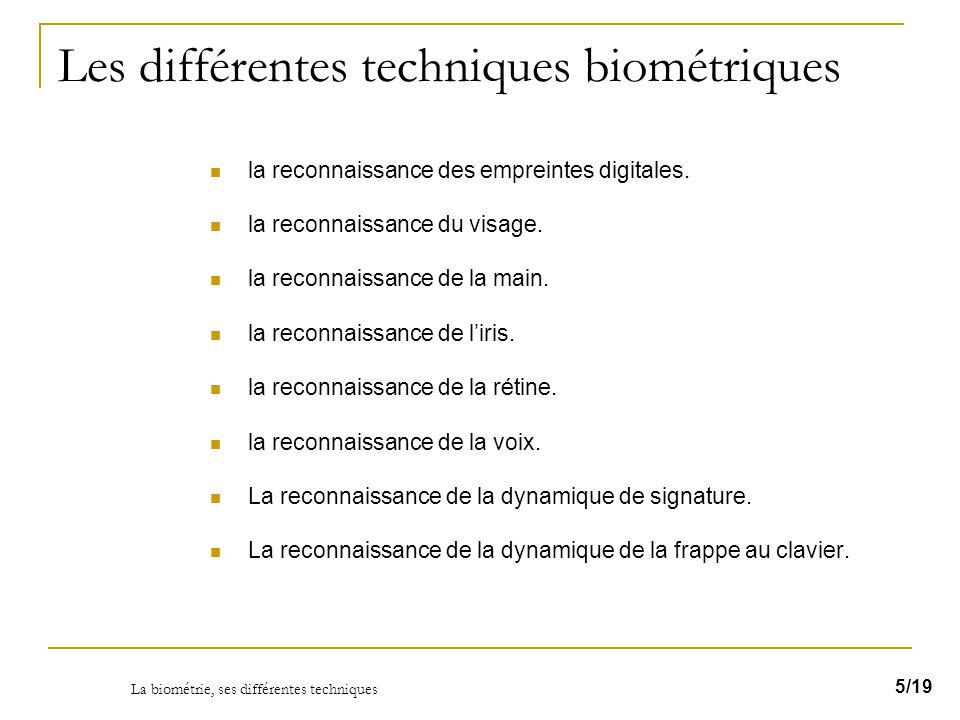 Les différentes techniques biométriques