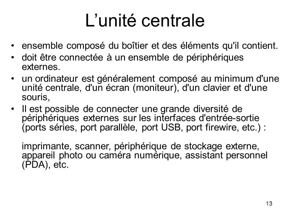 L'unité centrale ensemble composé du boîtier et des éléments qu il contient. doit être connectée à un ensemble de périphériques externes.