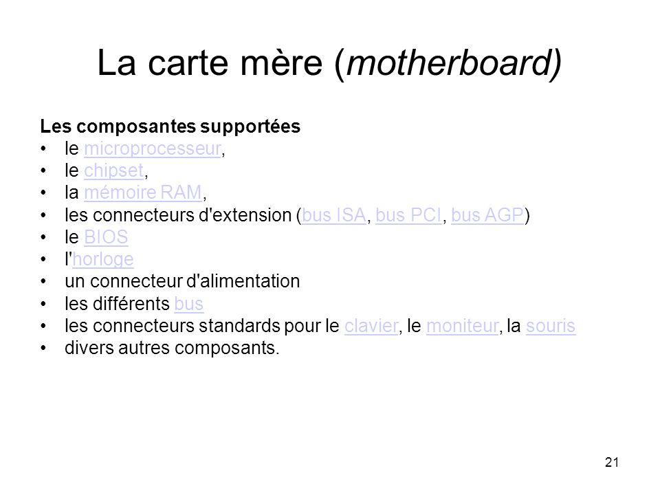 La carte mère (motherboard)