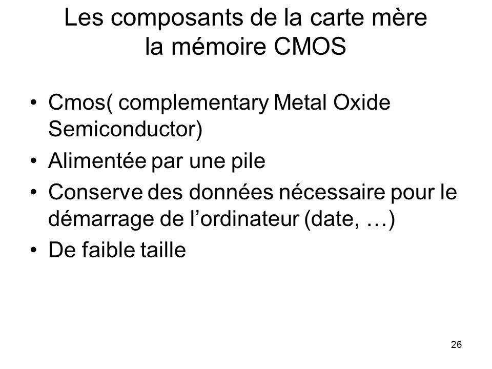 Les composants de la carte mère la mémoire CMOS