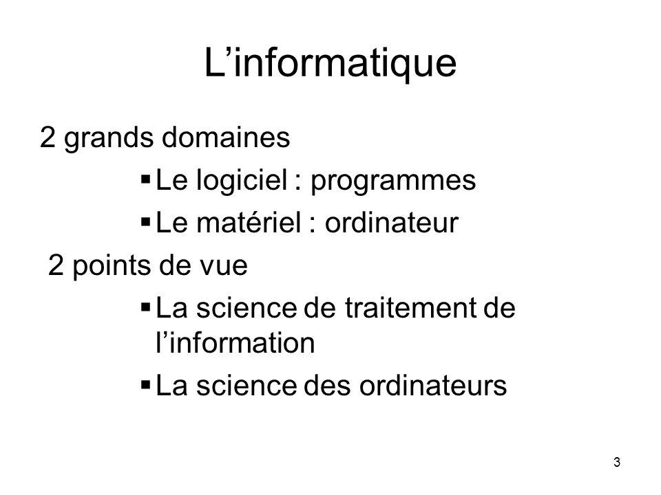 L'informatique 2 grands domaines Le logiciel : programmes