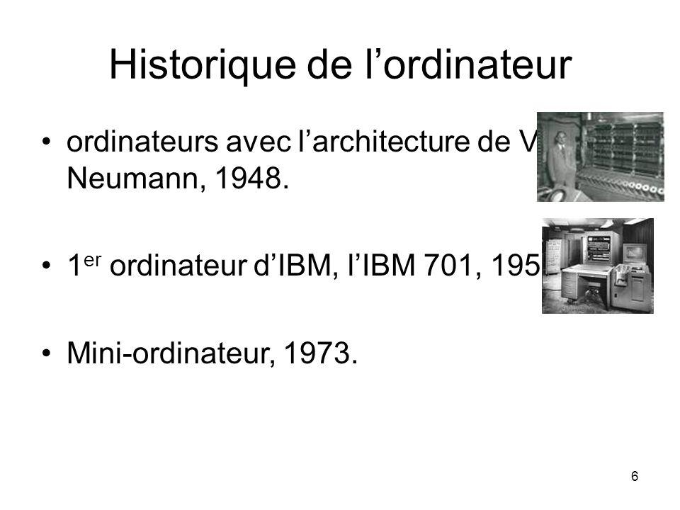 Historique de l'ordinateur