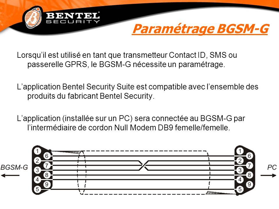 Paramétrage BGSM-G Lorsqu'il est utilisé en tant que transmetteur Contact ID, SMS ou passerelle GPRS, le BGSM-G nécessite un paramétrage.