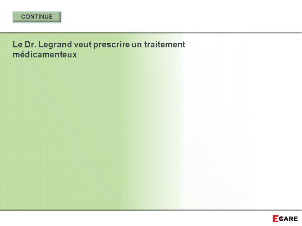 Le Dr. Legrand veut prescrire un traitement médicamenteux