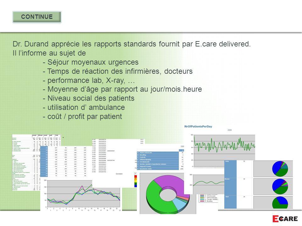 CONTINUE Dr. Durand apprécie les rapports standards fournit par E.care delivered. Il l'informe au sujet de.