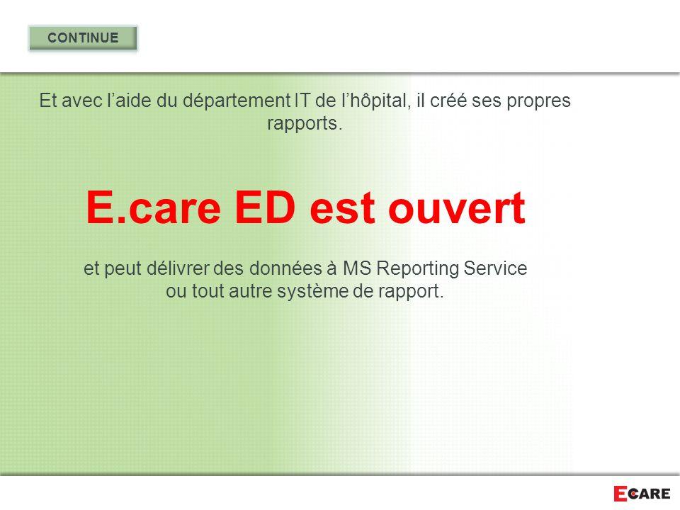 CONTINUE Et avec l'aide du département IT de l'hôpital, il créé ses propres rapports. E.care ED est ouvert.