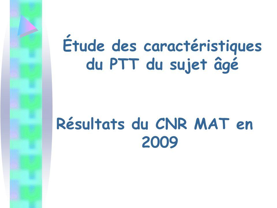 Étude des caractéristiques du PTT du sujet âgé