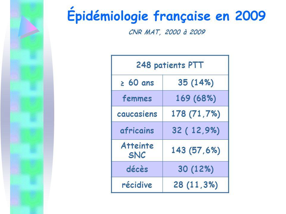 Épidémiologie française en 2009 CNR MAT, 2000 à 2009