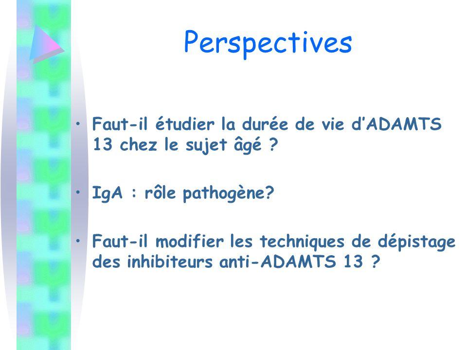 Perspectives Faut-il étudier la durée de vie d'ADAMTS 13 chez le sujet âgé IgA : rôle pathogène