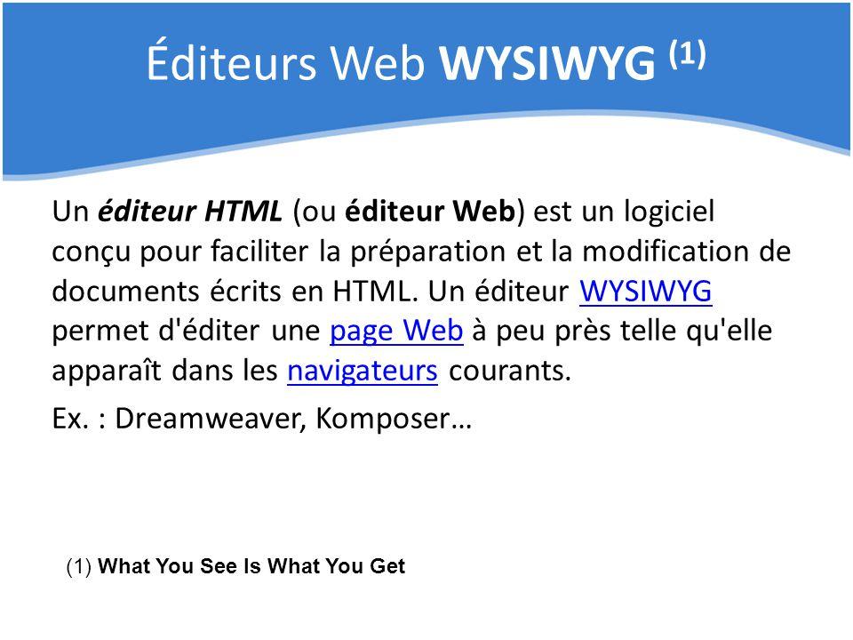 Éditeurs Web WYSIWYG (1)