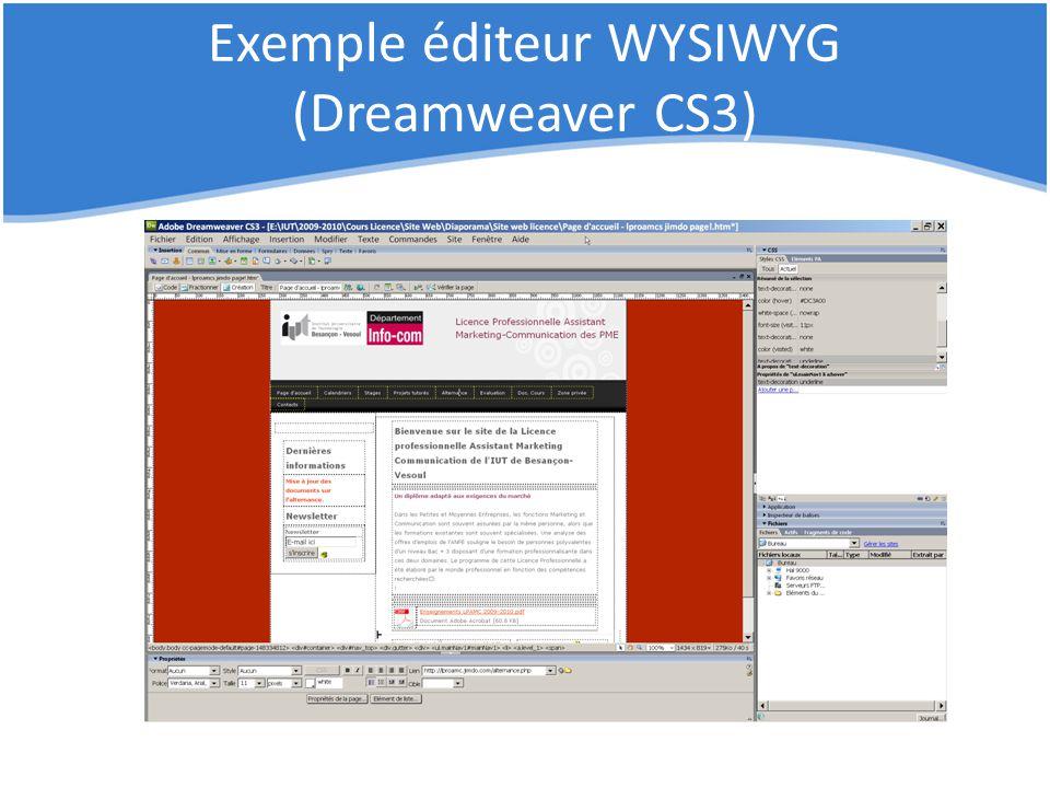 Exemple éditeur WYSIWYG (Dreamweaver CS3)