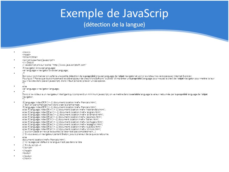 Exemple de JavaScrip (détection de la langue)