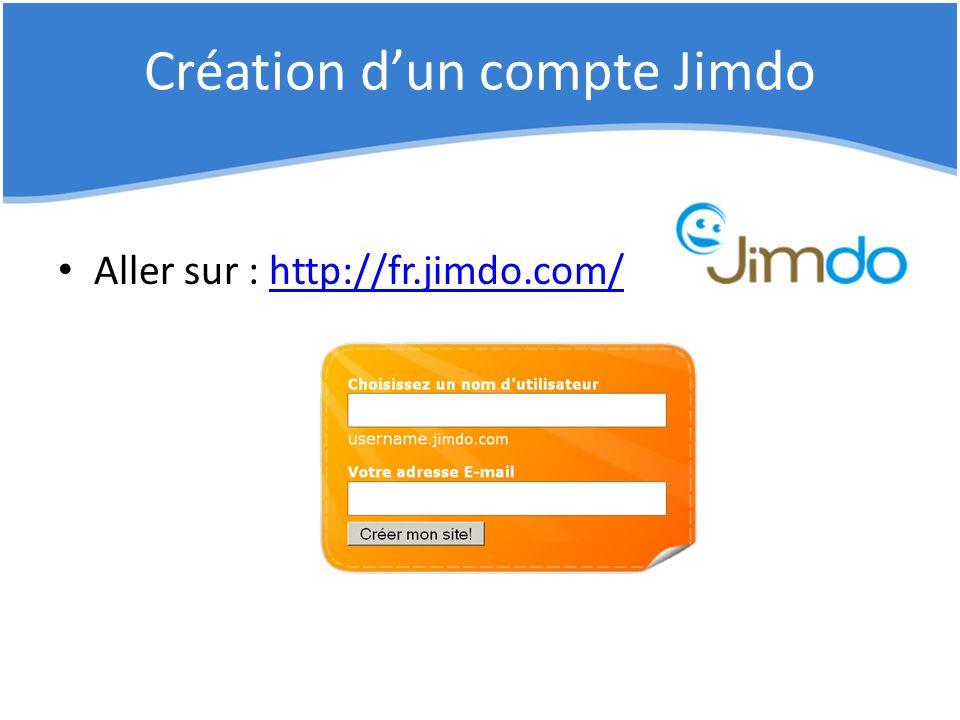 Création d'un compte Jimdo