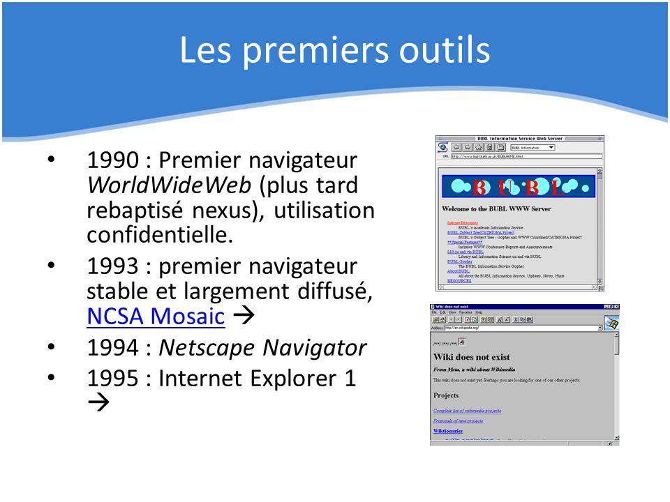 Les premiers outils 1990 : Premier navigateur WorldWideWeb (plus tard rebaptisé nexus), utilisation confidentielle.