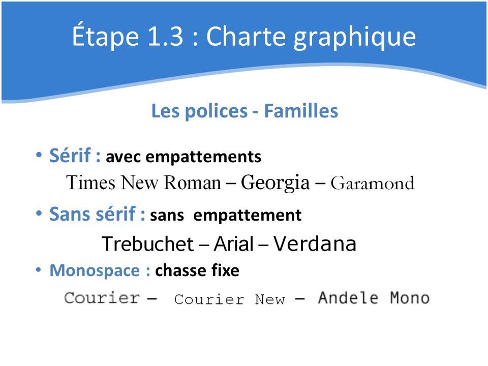 Étape 1.3 : Charte graphique