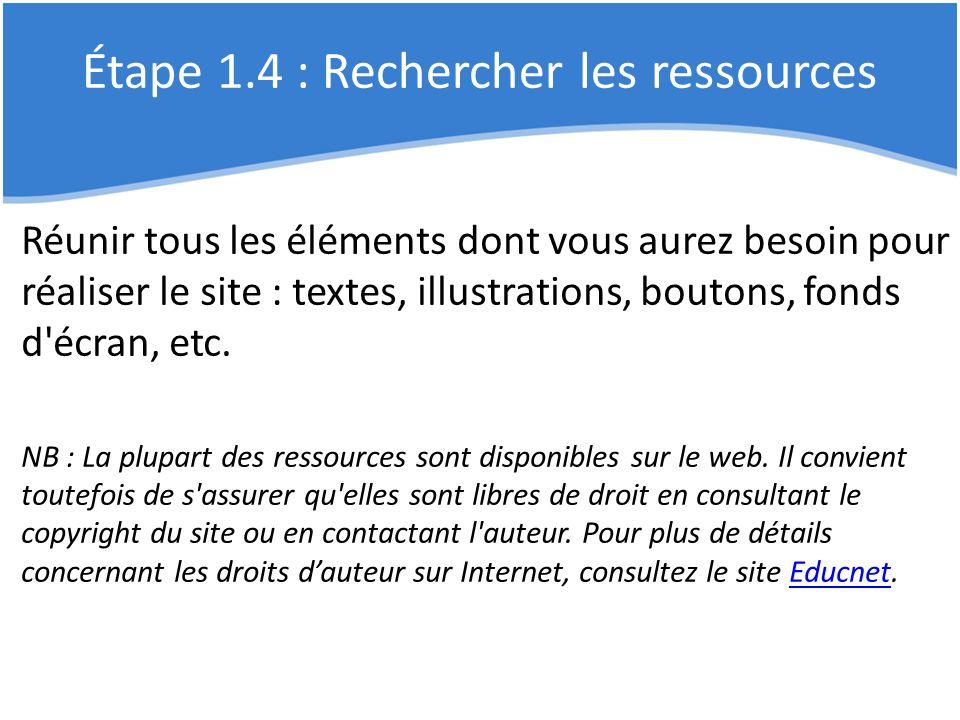 Étape 1.4 : Rechercher les ressources