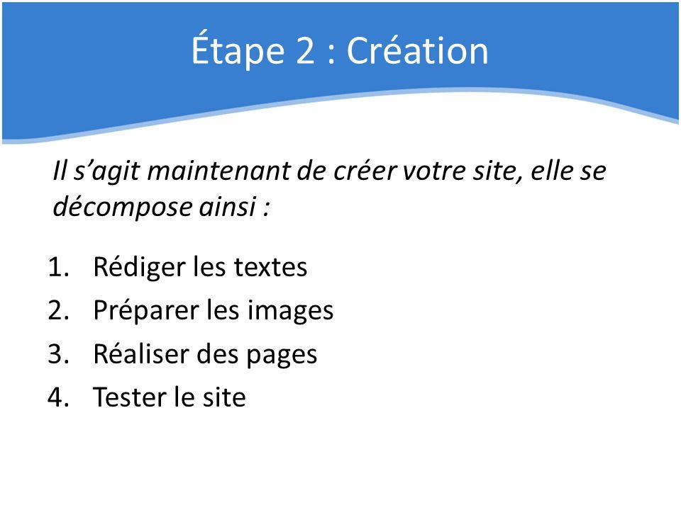 Étape 2 : Création Il s'agit maintenant de créer votre site, elle se décompose ainsi : Rédiger les textes.