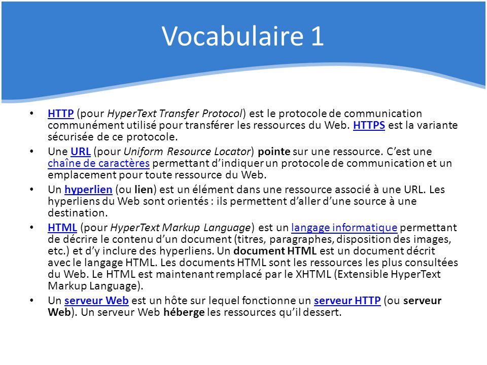 Vocabulaire 1
