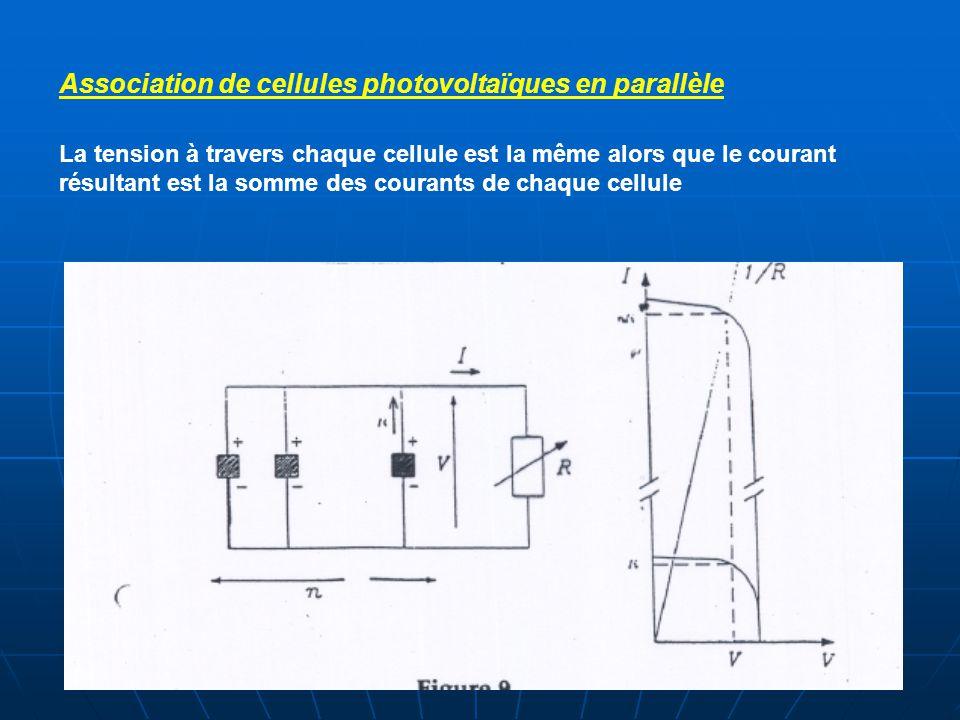 Association de cellules photovoltaïques en parallèle