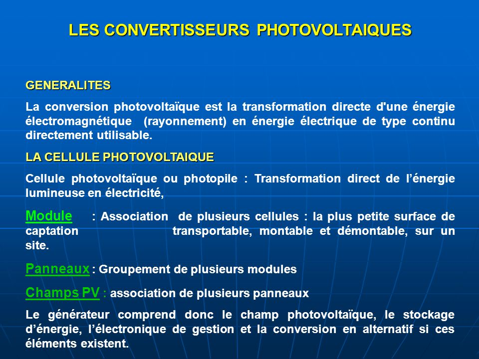 LES CONVERTISSEURS PHOTOVOLTAIQUES
