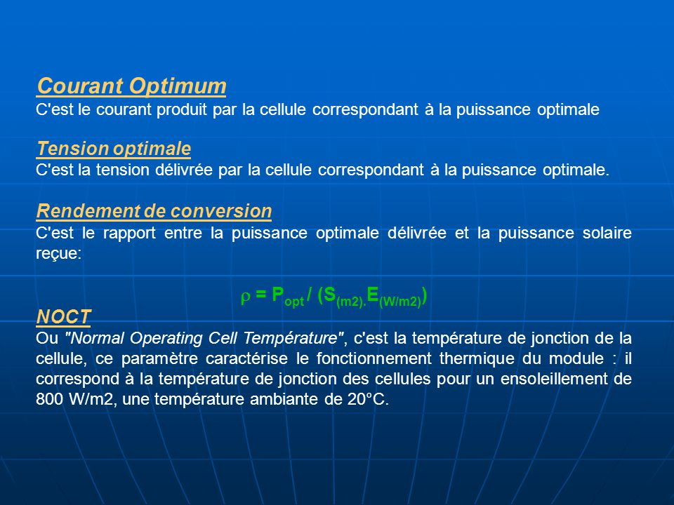 Courant Optimum Tension optimale Rendement de conversion