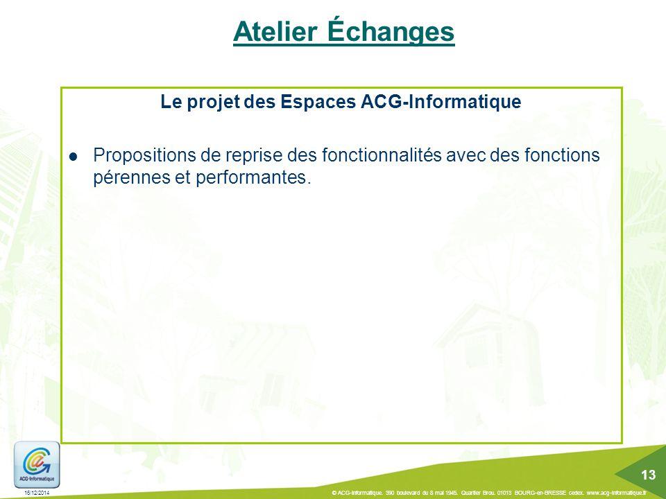 Le projet des Espaces ACG-Informatique
