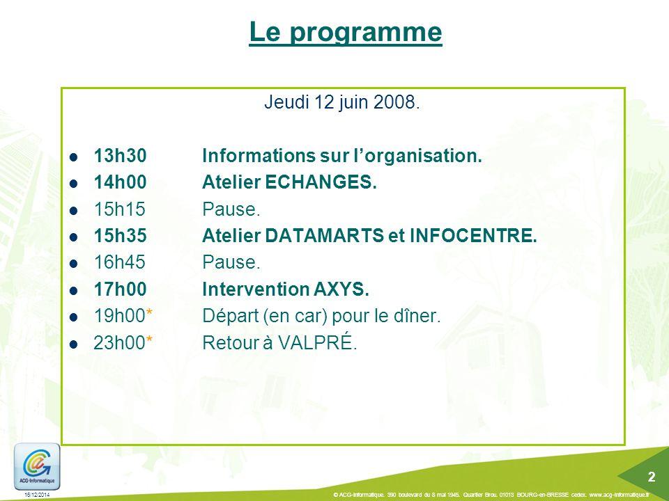 Le programme Jeudi 12 juin 2008.