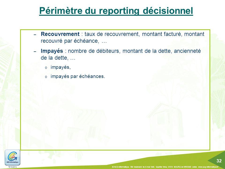 Périmètre du reporting décisionnel